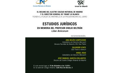 El 15/12 se presenta el libro homenaje a Emilio Beltrán en el Colegio Notarial de Madrid