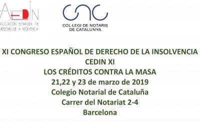 Los créditos contra la masa, tema central del XI Congreso Español de Derecho de la Insolvencia (CEDIN)